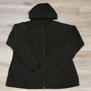 Black heather zip up hoodie